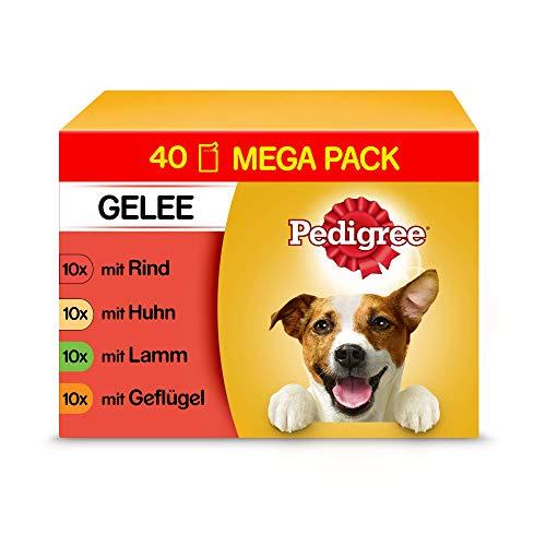 Pedigree Vital Protection Hundenassfutter im Beutel – Hundefutter in Gelee mit Rind, Huhn, Lamm & Geflügel – 40 x 100g Großpackung