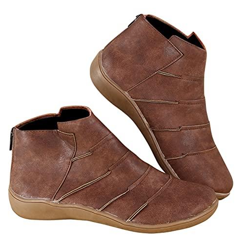Dasongff Bottes pour femmes décontractées - En cuir - Rétro - Fermeture éclair latérale - Capuchon rond - Classiques - Chelsea - Boots de cowboy - Bottes d'équitation - Rétro - Pour femme