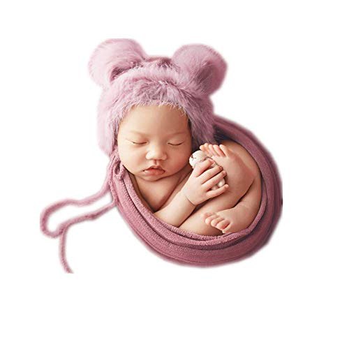Infant Newborn Monthly Baby Boys Girls Handmade Knit Photography Props Bear Hat with Wrap Blanket Set