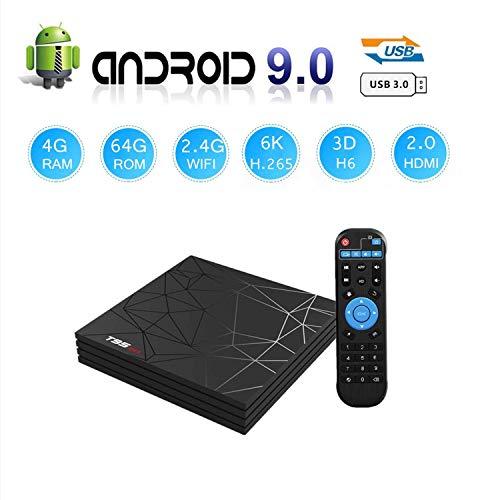 Android 9.0 TV Box, Newest Smart Box T95 Max 4GB RAM 64GB ROM H6 Quad-Core Cortex-A53 Mali-T720MP2 Media Player Support 6K H.265 100M LAN Internet 2.4GHz WiFi 3D Set Top Box with USB 3.0