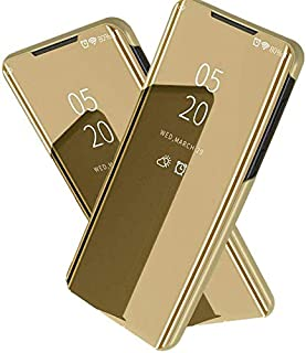 For Huawei Y7P 2020 Clear View Standing CoverWith Out Sensor Not Smart -Gold