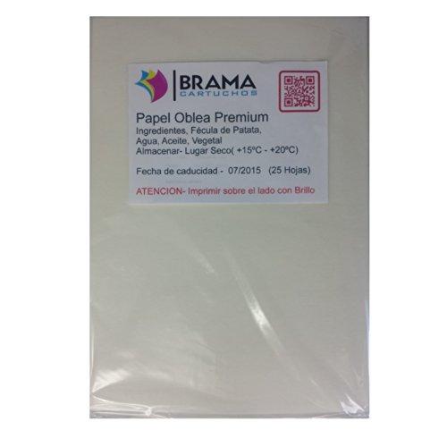 Bramacartuchos 25 Hojas Papel DE OBLEA Premium con UN Grosor DE Approx 0.7mm (Papel DE ARROZ) para Tinta Comestible