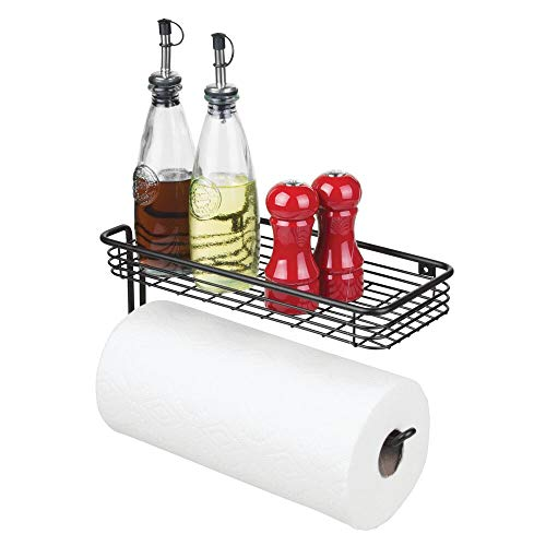 mDesign Paper Towel Holder with Spice Rack and Multi-Purpose Shelf - Wall Mount Storage Organizer for Kitchen, Pantry, Laundry, Garage - Durable Metal Wire Design - Matte Black