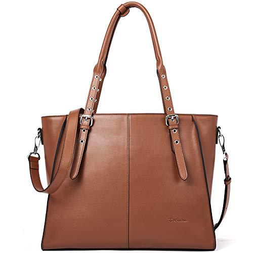 BOSTANTEN Damen Leder Handtasche Schultertasche Groß Shopper 15 Zoll Laptoptasche Aktentasche für Büro Designer Tote Bag Braun