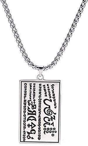 LBBYMX Co.,ltd Collar con Palabras escritas en Hebreo Rectángulo T Collar de Acero Inoxidable 316L Caja Larga Collar de Cadena Regalo de joyería para Hombres Collar Infantil