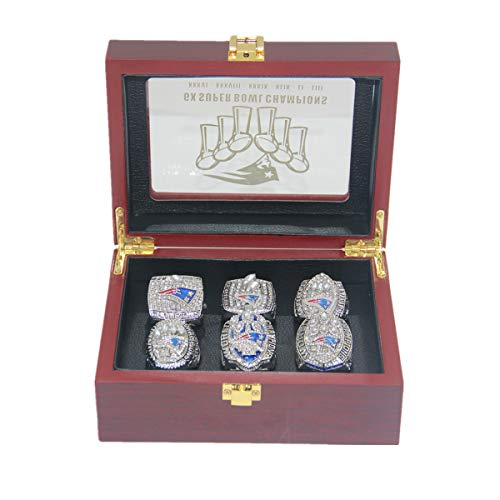 All 6-time New E'ngland Tom Fan Championship 'Patriots Brady Rings Set Size 8-14 with Box replicas Gifts for Women Mens kisd Boys Fathers (13)