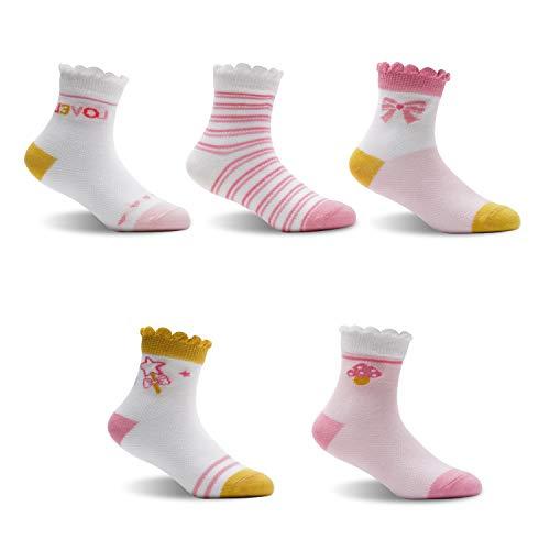 Aikowener Calcetines antideslizantes para niños, 5 pares, de algodón, calcetines para bebés de 0 a 12 años Color: 1 12 meses