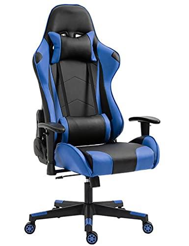 GPAIHOMRY Sillas de juego, silla de videojuegos estilo carreras, silla giratoria con reposacabezas extraíble y soporte lumbar para oficina, juegos y hogar