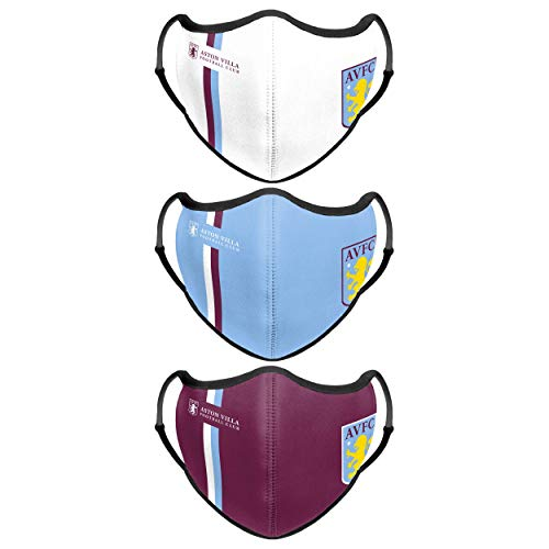 Forever Collectibles UK ASTON VILLA FC SPORT FACE COVER - 3 PACK WH