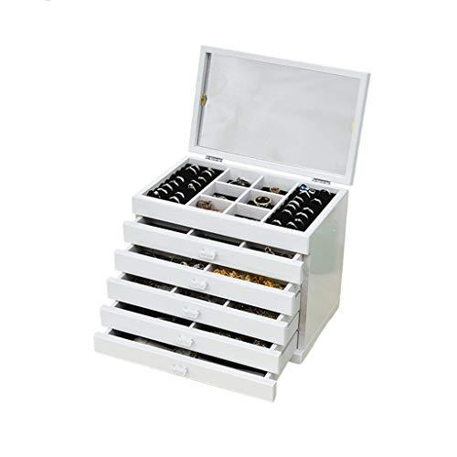 Joyero Tallado Hueco 6 Cajones De Almacenamiento Grandes Gabinete De Almacenamiento Caja De Almacenamiento De Joyas Con Tapa Multifunción Blanca Con Espejo ( Color : Blanco , Size : 30×19×25cm )