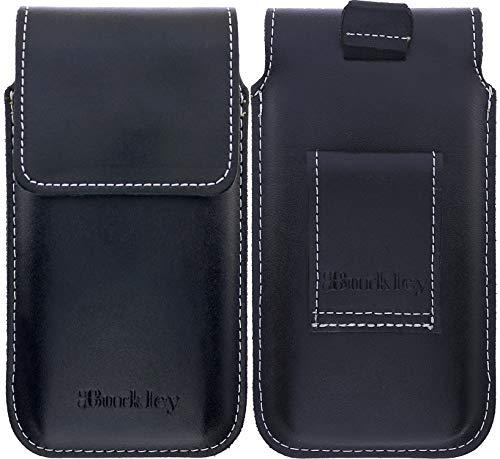 Burkley Gürteltasche für Samsung Galaxy A3 2017 Handyhülle Schutzhülle geeignet für Galaxy A3 2017 Hülle mit Gürtel-Schlaufe (Vertikal/Antik Schwarz)