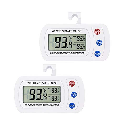 iBetterLife Digitales Kühlschrank-Thermometer, IPX3, wasserdicht, kabellos, mit Haken, großes LCD-Display und Max/Min-Aufnahme-Funktion, 2 Stück
