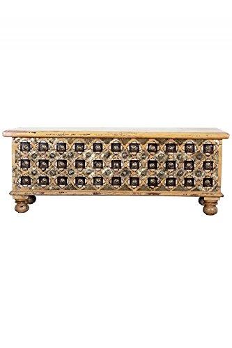 Orientalische Truhe Kiste aus Holz Burhan -1- 116cm groß in Antik | Sitzbank mit Aufbewahrung für den Flur | Aufbewahrungsbox mit Deckel im Bad | Betttruhe als Kissenbox oder Deko im Schlafzimmer - 2