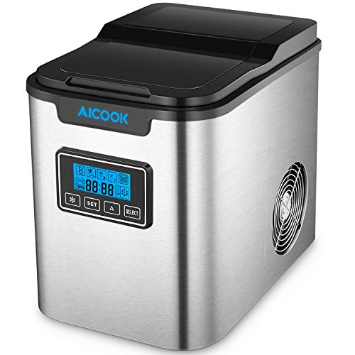 Ice Maker Aicok, Stainless Steel Ice Maker Machine Counter Top Home, Ice...