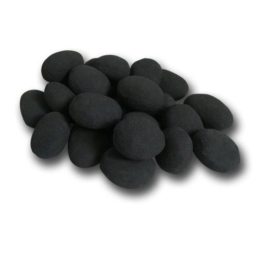 Hekers Keramiksteine Set 24teilig, schwarz Gel-Kamin Bioethanol-Brenner Dekoration Pflanzen-Schale Tisch-Deko