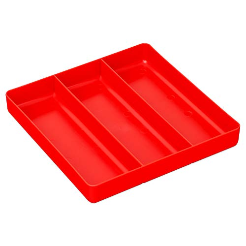 Ernst Manufacturing Home and Garage Organizer Tray, 3-Compartments, Red