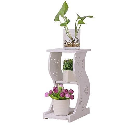 WJJ Puesto de Flores para Balcon Soporte De Flor De Madera con 2 Gradas Sala De Estar Soporte De Planta Estante De Exhibición De Flores Al Aire Libre, Blanco