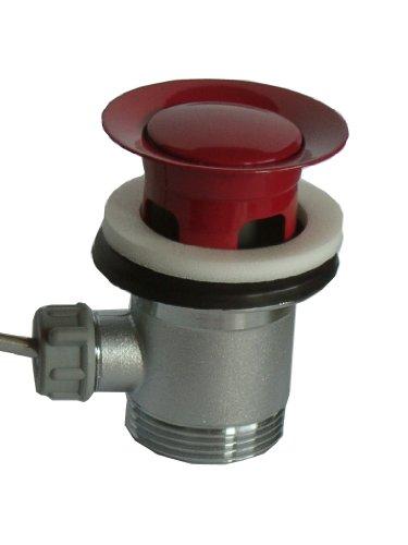 Ablaufgarnitur Excenter mit Überlauf für Waschbecken 1 1 /4 Zoll Rot