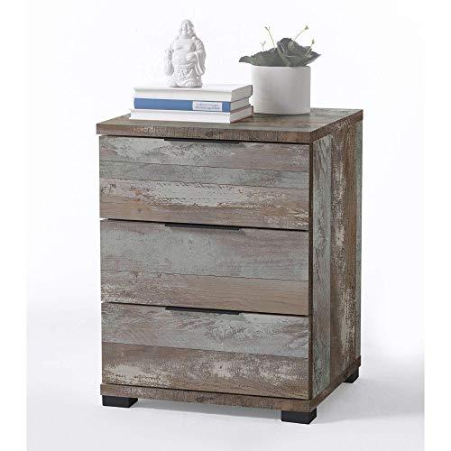Universal Nachttisch in Driftwood Optik - Moderner Nachtschrank mit drei Schubladen für Ihr Boxspringbett - 46 x 61 x 42 cm (B/H/T)