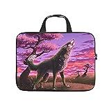 Sunset Wolf - Maletín para portátil (resistente a los arañazos, para universidad, trabajo, negocios, personalizable), Blanco, 15 pulgadas,