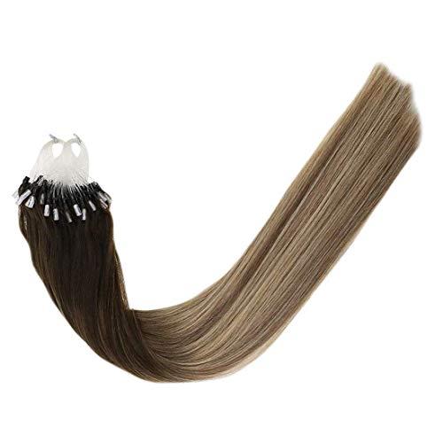 LaaVoo-100 Remy Microring-Extension 100 Natural Haare,Ganz Leicht Einzusetzen By Haarprofi,Darker Brown to Light Brown to Medium Blonde (18 Zoll 50G/50Strähne)