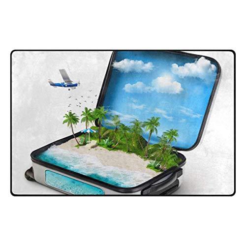Joe-shop Alfombra de área Maleta Abierta de Viaje Isla Tropical Palmera Comedor Dormitorio Alfombra Alfombra de Piso Decoración para el hogar 60x39 Pulgadas / 150x100cm RUG-856