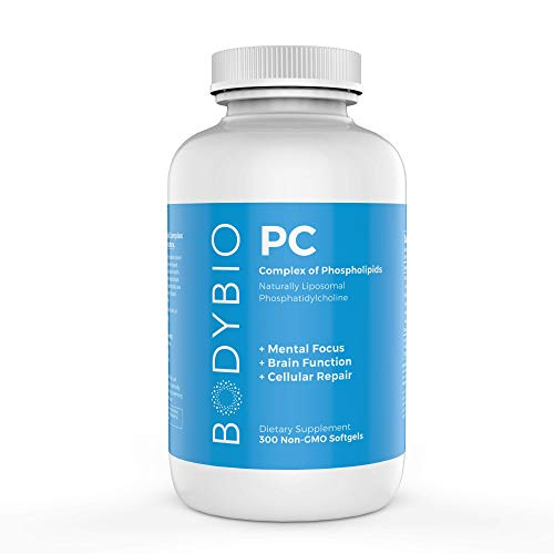 BodyBio - PC Phosphatidylcholine, Liposomal Phospholipid Complex for Cell Health - Enhance Brain Function, Focus, Memory & Clarity - Microbiome Support - Science & Research Backed - 300 Softgels -  SP650