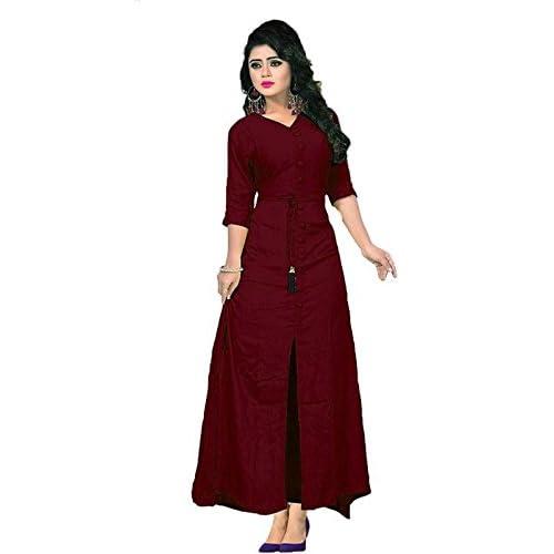 5e957cc838 Vaidehi Creation Women Long Sleeve V-neck Full Stitch Long Dress (Color:  Maroon