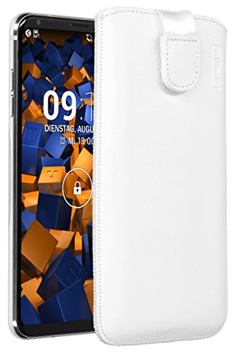 mumbi Echt Ledertasche kompatibel mit LG V30 / V30S ThinQ Hülle Leder Tasche Hülle Wallet, weiss