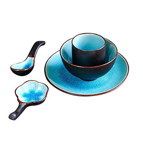 BaiJaC Cuenco para Comer, Sistema de vajilla de Estilo japonés Cerami de 5 Piezas, tazón de arroz de vajilla de cerámica Azul Retro/Placa/Bandeja en Forma de Flor/Taza/Cuchara de Ensalada de Ramen so