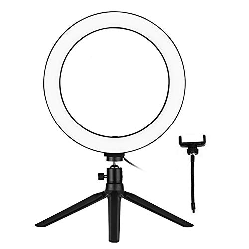 Andoer 10 Inch LED Ring Light with Tripod Stand Phone Holder Remote Control 3200K-5500K Dimmable Table Camera Light Lamp 3 Light Modes & 10 Brightness Level for YouTube Video Photo Studio Live