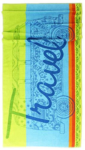 Lashuma Toalla de Playa Rio, Toalla de Playa VW Bus con Texto Travel, Toalla de Playa, Toalla de Ducha Grande 75 x 150 cm, 100% algodón, Azul