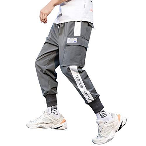 Herren Hosen Sommer Hose Trainingshose Cargo Pants Jogginghose Sweatpants Jogger Freizeit Laufen Streifen Enger Beinabschluss Pants Sports Fitnesshose, Bodybuilding Yoga Sporthose(Grau.M)