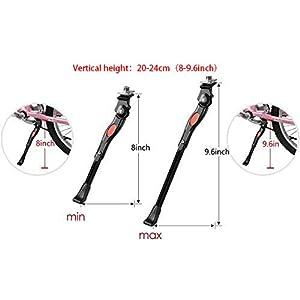DEWEL Pata de Cabra para Bicicleta Aluminio Aleación Soporte Ajustable del Retroceso de Caballete, Aplicado para Altura Vertical 20-24cm Lateral Antideslizante