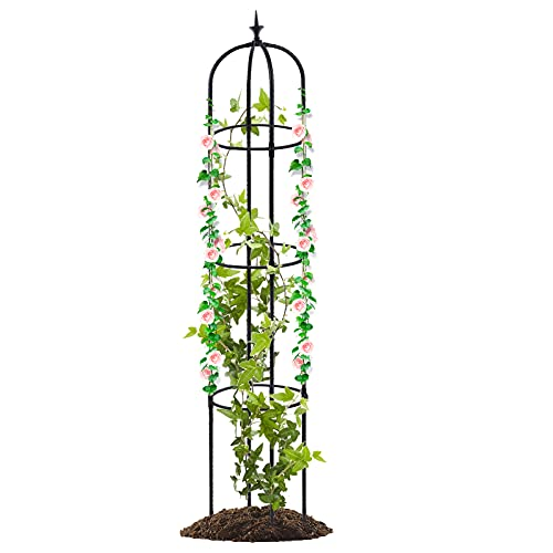 Tower Garden Trellis Obelisk Plant Support Plastic Coated for Climbing Vines and Flowers Stands Indoor Potted Plant (61 inch)
