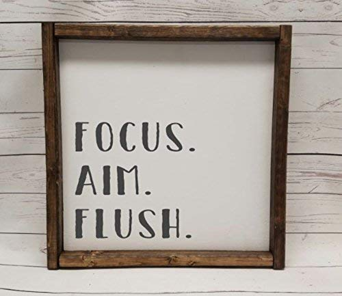 Focus. Aim. Flush, Farmhouse sign, rustic decor, fixer upper style, bathroom decor art, kid or master bathroom, wash your hands