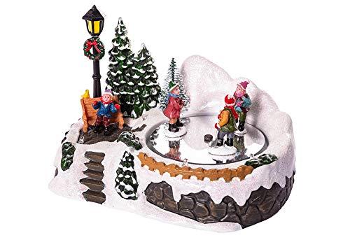 Spieluhr, mit LED beleuchtet, 18,0x12,5x12,0cm, ohne Batterien, Kinder beim Hockey Spielen in Winterlandschaft, mit Musik, Weihnachtshaus