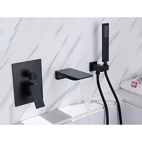 GJEFEGS Caño Grifo de la bañera Montado en la Pared Baño Mezclador de Lavabo Cabezal de Ducha de Mano Grifo de baño y Ducha