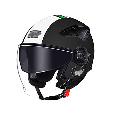 YAYT Casco de Motocicleta con protección Solar, Negro/Blanco/Rojo con Gafas 3/4, Hombres y Mujeres Adultos, Casco de Motocicleta de Cuatro Estaciones con certificación Dot/ECE aprobada (55-60cm)