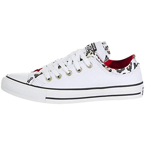 Converse Chuck Taylor All Star Double Upper Low para mujer, (Blanco/Multicolor esmalte...