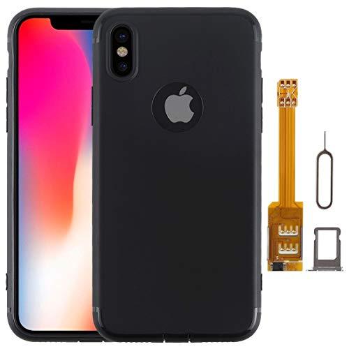 Xyamzhnn Caja del teléfono de Kumishi 2 en 1 Caso de TPU + Adaptador Doble Tarjeta SIM con la Bandeja de Tarjeta SIM/Tarjeta SIM for iPhone Pin X, Doble Tarjeta de Espera única st (Color : Black)
