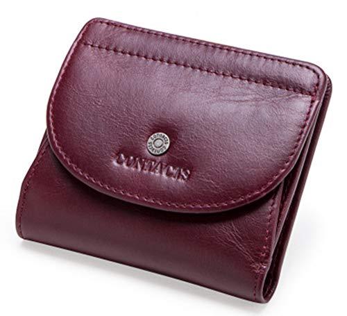 OMJNH dames portemonnee, mode toplaag rundleer dames portemonnee leder multifunctionele kleine kaart case