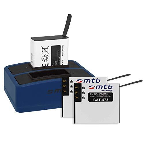 3 Baterías + Cargador Doble (USB) para cámara Deportiva Rollei Actioncam 430 (4k Full HD WiFi) - Contiene Cable Micro USB