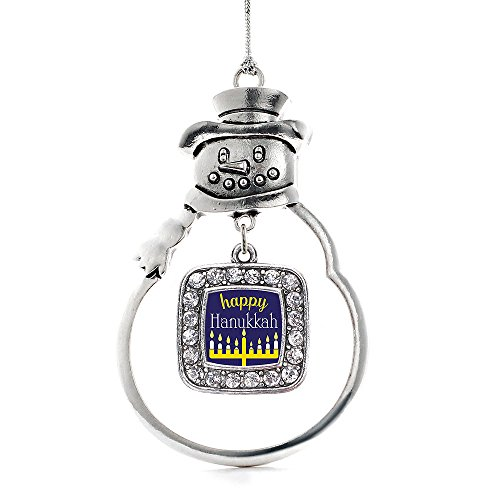 Inspired Silver - Happy Hanukkah Charm Ornament - Silver Square Charm Snowman Ornament with Cubic Zirconia Jewelry