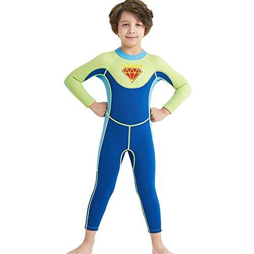 AMZQJD Kinder Jungen Neoprenanzug 3MM Neopren UV Schutz Langarm Wärmehaltung Wetsuit (Blau, L)