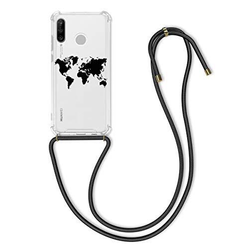 kwmobile Funda con Cuerda Compatible con Huawei P30 Lite - Carcasa de TPU con Colgante Mapa del Mundo Negro/Transparente