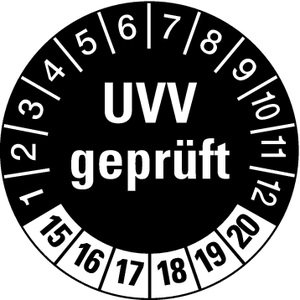 LEMAX® Prüfplaketten UVV geprüft schwarz/weiß ab 2018 30mm, 100 Stück
