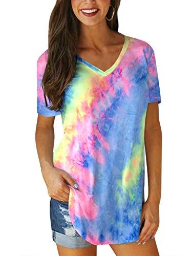 VONDA T-Shirt Damen Sexy Tops Lang Elegant Batik V Ausschnitt Oversize Sportshirt Frühling Oberteile Winter Shirt C-Bunt XL