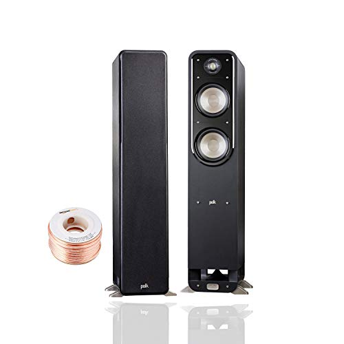 Polk Audio Signature Series S55 Floor Standing Speaker (Pair) with Amazon Basics 14 Gauge 50' Wire Cable | American HiFi Surround Sound | Stylish Looks, Big Sound | Detachable Magnetic Grille