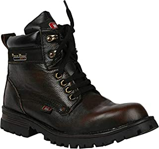 Bacca Bucci Mens 6 inches Water Repellent Steel Toe Cap Real Leather PDM MILD Outdoor Laceup Boots/Warranted Quality & Durable Boot-Brown